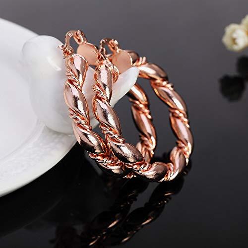 925 Orecchini in Argento Oro Oro Orecchini Lady for Donne Round Wedding Nizza Trendy Bella Moda Fascino Party 4cm Orecchini Gioielli (Metal Color : Rose Gold Color)
