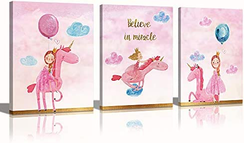 Unicorn Canvas Wall Art Decor for Girls Bedroom Pink Background Colorful Balloon Cartoon Pictures product image