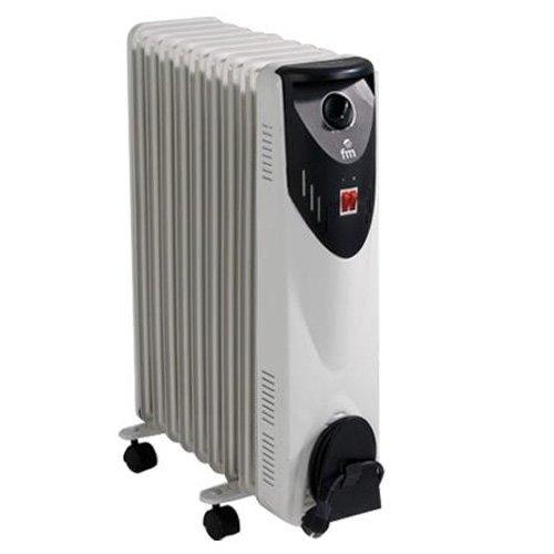 FM Calefacción BR-20 Zwart, grijs 2000W radiator elektrische kamerverwarming - elektrische kamerverwarming (radiator, hal, zwart, grijs, draaiknop, 2000 W, 800 W)