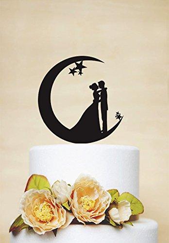 Hochzeit Tortenaufsatz Mond und Sterne Kuchen Topper Acryl Tortenaufsatz Braut und Bräutigam...