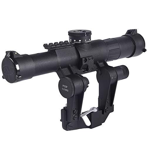 BelOMO POSP 4x24 DU. PRO Line. Optical Rifle Scope with Dioptric Adjustment. Univeral Russian Side Rail Mount. 1000m Rangefinder. 1 MOA. Combloc. BDC Reticle