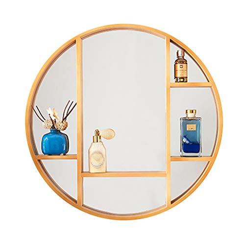 Spiegel Moderner minimalistischer runder Massivholzspiegel, Aufbewahrungsspiegel für Schminktische mit Montagezubehör, Gestell aus Massivholz mit Aufbewahrungslinse + silberner HD