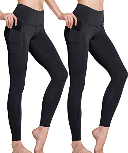TSLA High Waist Yoga Pants with Pockets, Tummy Control Yoga Leggings, Non See-Through 4 Way Stretch Workout Running Tights, Ankle Aerisupport 2pack(fgp50) - Black/Black, Large
