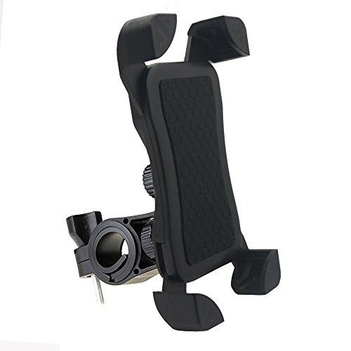 Fayomir Fahrrad Handyhalter Anti-Rutsch - Universal Verstellbar Handyhalter Wiege Mit Schlossknopf Für Smartphones Von 4 bis 7 Zoll (Schwarz)