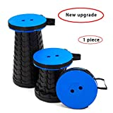 Portable Folding Stool, Telescoping Plastic Camping Stool, Retractable Foldable Stool seat, Sturdy and Lightweight, Blue