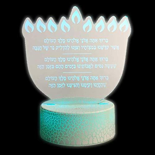LED Hanukkah Menorah Acrylic Light Up Blessing / Bracha Sign