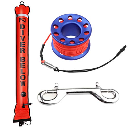 Seafard 4ft Red Scuba Diving Open Bottom Surface Marker Buoy (SMB) with 49ft Finger Spool Alloy Dive Reel and Double Ended Bolt Clip - Blue