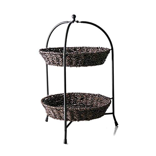 Fruit Tray, American Rattan Weave Double-layer Fruit Basket, Restaurant Hotel Large-capacity Iron Frame Multi-function Fruit Basket, Black, 10.8 * 18.5 * 2.3in