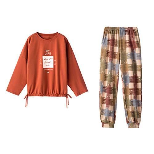 Alavo Conjunto de pijama de dos piezas para mujer, de manga larga, casual, multicolor, XXL