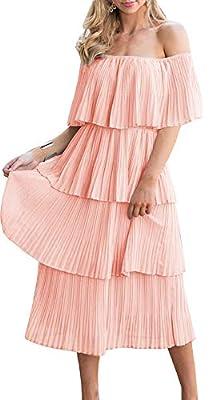 ETCYY Women's Off The Shoulder Ruffles Summer Loose Casual Chiffon Long Party Beach Maxi Dress