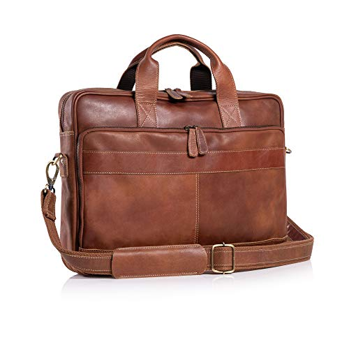 KomalC 16 Inch Leather briefcases Laptop Messenger Bags for Men and Women Best Office School College Satchel Bag (TAN)