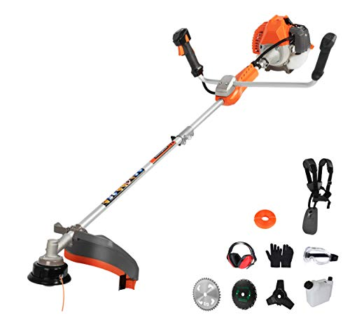 PROYAMA 42.7cc 2-Cycle Gas Powred Weed Eater Weed Trimmer, 2-in-1 Gas String Trimmer and Brush Cutter, Anti-Vibration System Tube