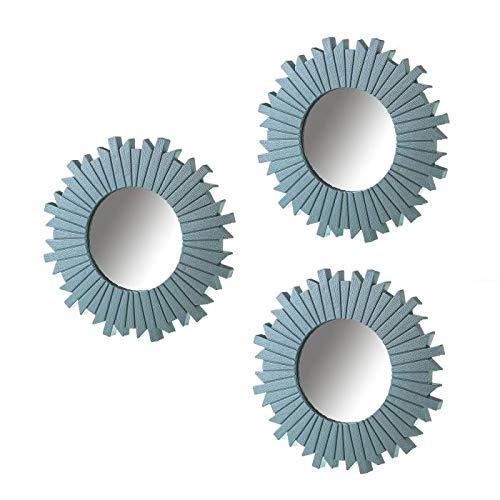 Espejos Pared Decorativos Rosa Pack 3 Uni Espejo Decorativo Pared Estilo Moderno Ideal para Decoración Casa Baño Habitación y Salón - Color Azul Juego Set