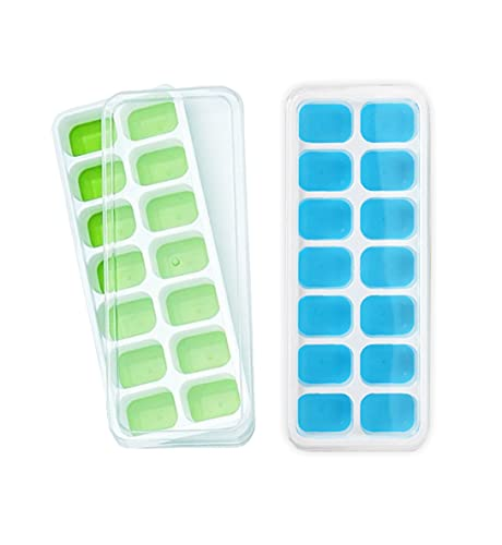 2PCS Silicone Ice Cube Trays with No-Spill Removable Lid, Easy-Release, Flexible Ice Cube Moulds, LFGB Certified and BPA Free, Stackable Durable, Dishwasher Safe Pack of 2