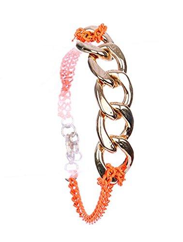 beyoutifulthings Pulsera para mujer de acero inoxidable chapado en oro, con eslabones de cadena en color naranja neón, longitud: 19,7 cm
