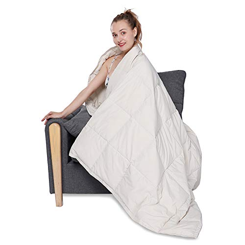 HOMBYS 50x70in Lightweight Down Throw Blanket Packable Down Blanket for Couch Adults & Kids Sleeping Napping Camping Traveling Blanket - Off White