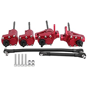 Alomejor RC Car Axle Rear Front Portal Axle W/Steering Link Transmission Shaft Compatible with Axial SCX10 II 90046 90047 red