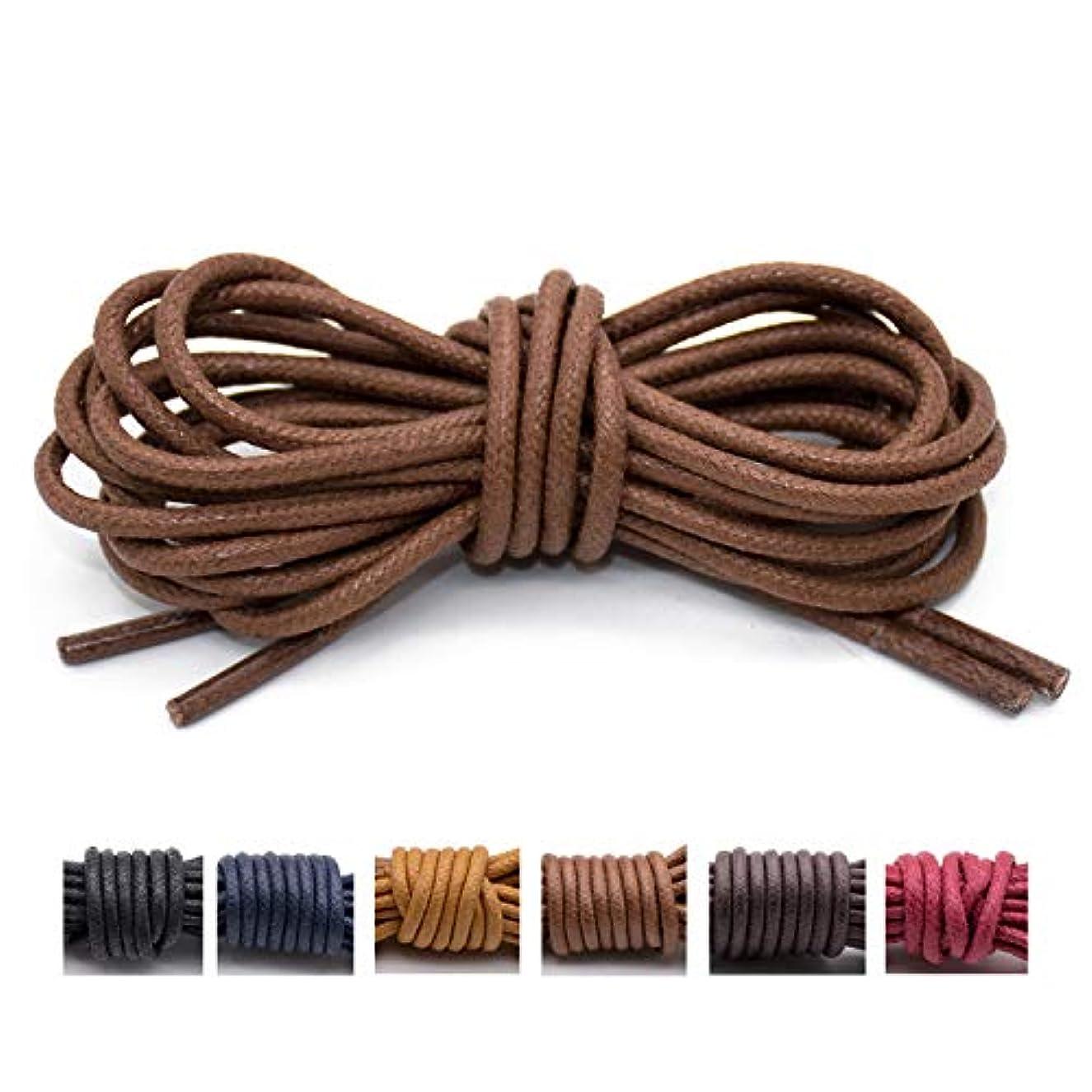Handshop Waxed Boot Shoelaces, Cotton Round Shoe Laces for Dress Shoes