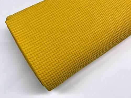 telas de algodón, tela de PIQUE CUADRILLÉ COLOR MOSTAZA, telas para colchas, tela para mantas, telas por metros, 1 metro x 150 cms