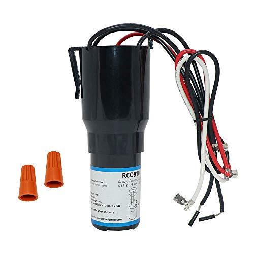 AMI PARTS RCO810 Refrigerator Solid State Hardstart Relay Capacitor Overload, 3-in-1 rated for 1/12 to 1/5 HP, 120V