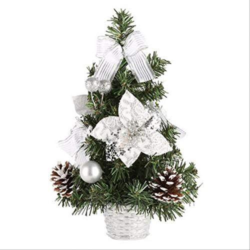 WARRT Arbol de Navidad Encantador Mini Árbol De Navidad Artificial Glittery Balls Bowknot Hotel Cafe Mesa Festival Decor Plata