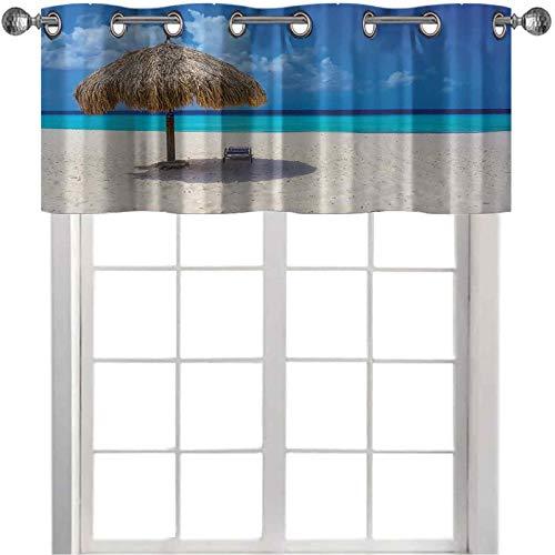 Cortinas opacas con cenefas para ventana, sombrilla y silla, día soleado en romántica playa caribeña, impresión de 127 x 45 cm, elegante cenefa para cocina, color marfil, azul marino