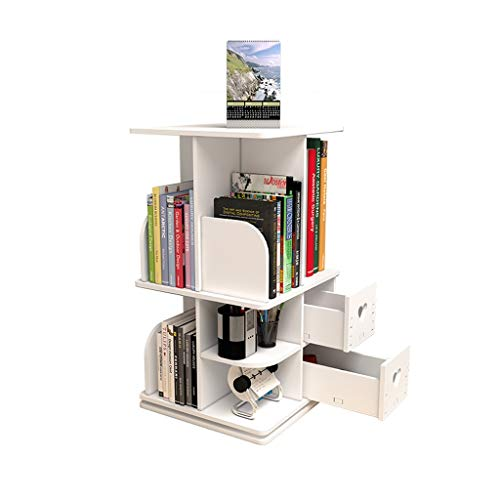 Sujetalibros Librería de Escritorio de estantería de Madera de sobremesa giratoria, Estante Giratorio for Organizador de 360 °, Torre giratoria for Medios Escuela, Estudio, Oficina
