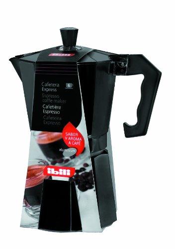 Ibili 612206 Espresso-Kocher für 6 Tassen, Schwarz