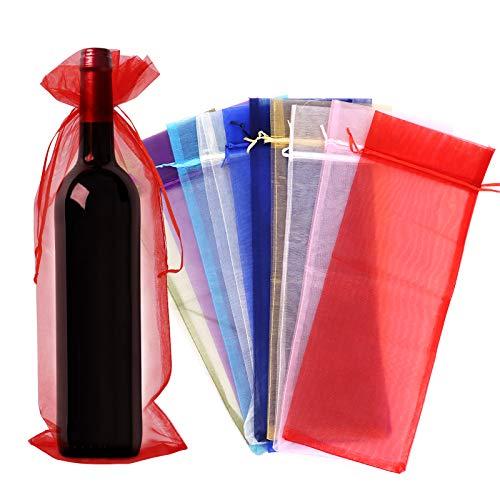 30 bolsas de organza para vino, bolsa de regalo para botella de vino con cordón, bolsas para envolver vino para bodas, cumpleaños, baby shower, Navidad, dulces, multicolor