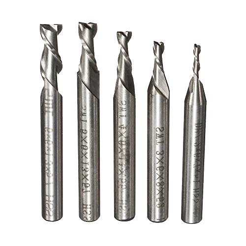 ChaRLes 5Pcs 2 Flauta 2/3/4/5/6Mm 6 mm Vástago Fresado Fresa Hss Final Mill Bit De Grabado Cnc