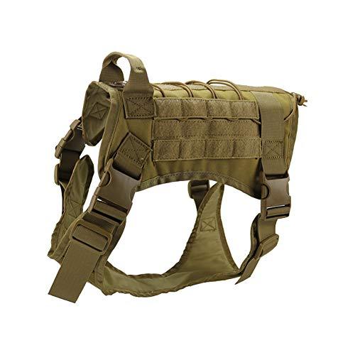 Chaleco táctico arnés para Entrenamiento de Perro, arnés Militar Ajustable Resistente para Perro, Chaleco de Patrulla,Chaleco de Nailon Molle Ning L