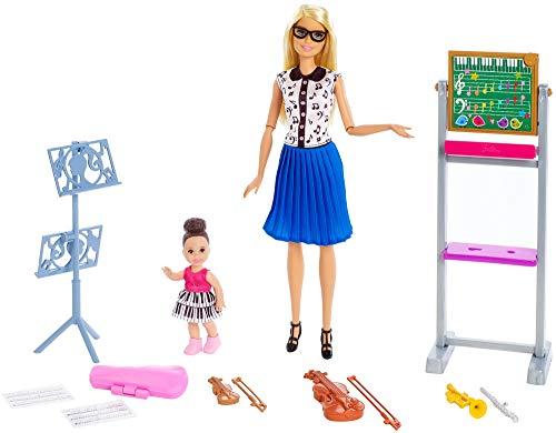 Barbie Quiero Ser Profesora de Música, Muñeca con Muñeca Bebé y Accesorios (Mattel FXP18)