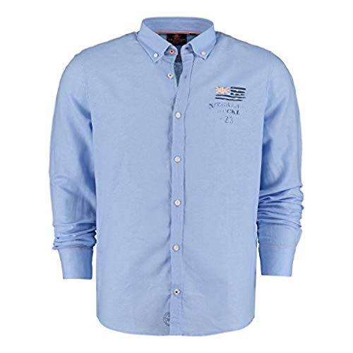 NZA New Zealand Auckland RakaiaHemd Longsleeve Leinen Shirt 20CN506 Light Blue blau (M)
