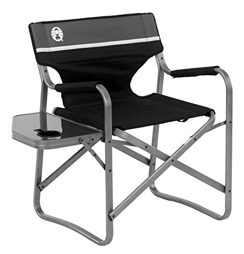 Coleman Camping Chair with Side Table | Aluminum Outdoor Chair with Flip Up Table Black/Grey