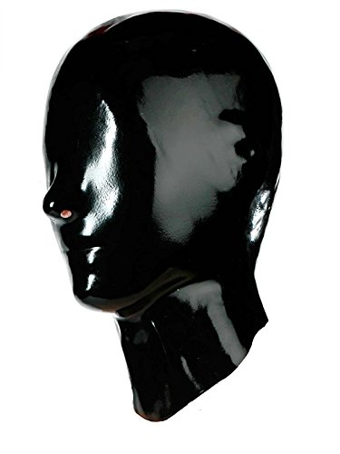 Fetisso - 1110 - geschlossene Latexmaske, Latex Maske - geschlossen Gummimaske Latexhaube Gesichtsmaske Vollmaske Latex Maske, Farbe:Schwarz, Größe:S