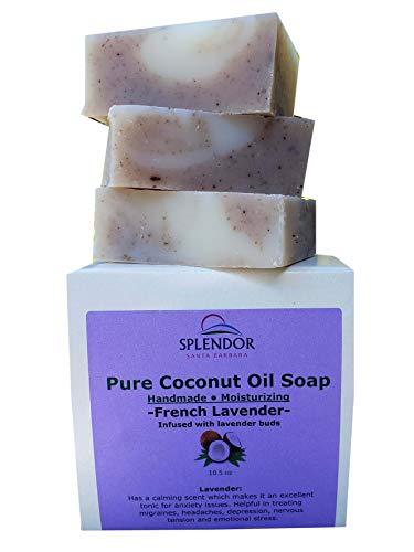 Splendor French Lavender - Natural Coconut Oil Face & Body Bar Soap. Handmade, Vegan, Moisturizing, for Eczema, Psoriasis and Dry Sensitive Skin.