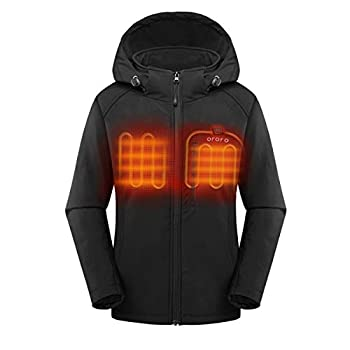 ORORO Women s Slim Fit Heated Jacket with Battery Pack and Detachable Hood  Black,M