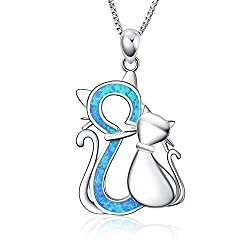 Blue cat necklace B 925 Sterling Silver Jewelry Pendant