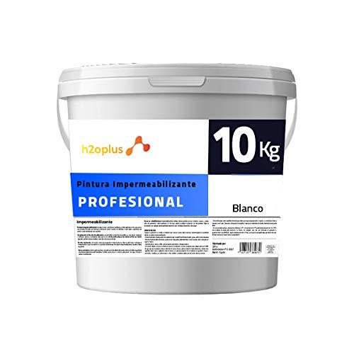 Profesional Pintura de Caucho Blanco Impermeabilizante · Revestimiento Exterior para Terrazas y Azoteas Transitables · 10KG (8,3 L) · NO Necesita Fibra