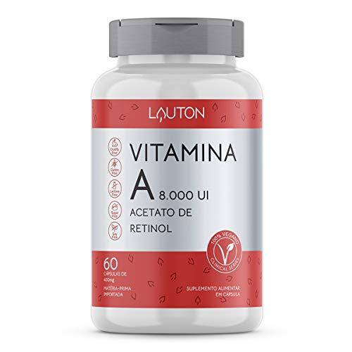 Vitamina A 8.000UI Acetato de Retinol - 60 Cápsulas - Lauton Nutrition, Lauton Nutrition