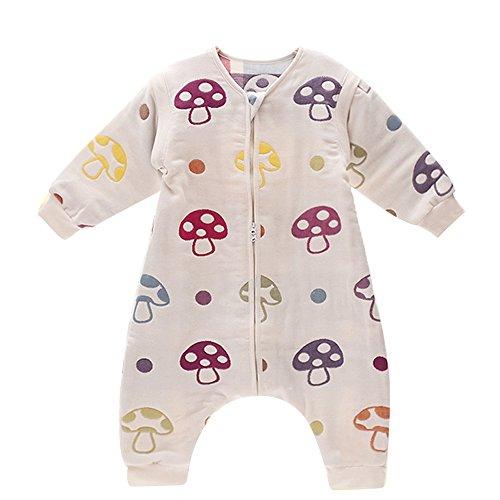 DaiShuGuaiGuai Baby Ganzjahres Schlafsack mit Füßen (Mehrfarbig) (Pilze) (L 85-95CM)