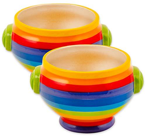 Suppenschüssel, handbemalt, Regenbogenstreifen, Keramik, 2 Stück