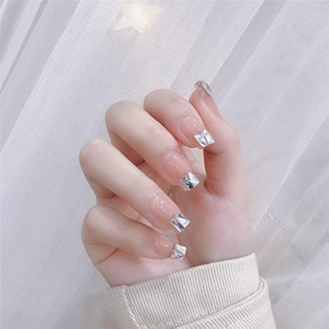 同性愛者四半期同様に流行のスタイル 台形 きらめくダイヤモンド 桜の色 手作りネイルチップ 3Dネイルチップ 24枚入