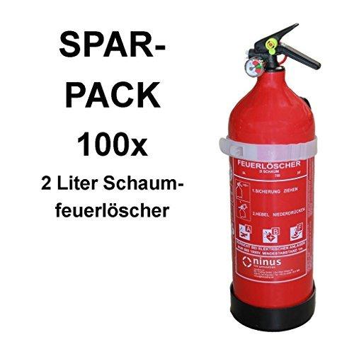 100x Fettbrandlöscher ninux ABF Feuerlöscher Schaum 2 Liter mit Halterung und Manometer
