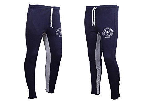 Spierwerken Gym Supreme Fleece Bottoms - Marine/Grijs Slim Fit Training Bottoms Joggingbroek