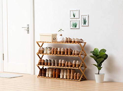 SHDS Zapatero de bambú 100% Natural y renovable súper Resistente y Duradero sin instalación Plegable Zapatero (3 Capas 6 Capas) Carga máxima de 40 kg (4 Capas 70 cm)