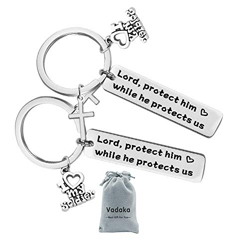 For Military Mom Wife Gift Keychain Protect Him While He Protects Us for Army Mom Air Force Mom Navy Mom Wife(2 PACK)