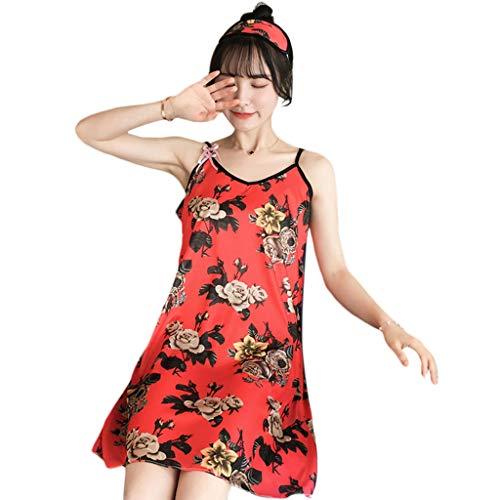 GROOMY Nachthemd, Frauen Sommer EIS Seide Knielang Nachthemd Spaghettiträger Blumenherz Cartoon Grafikdruck Bowknot Nachtwäsche Mit Augenmaske-D-M