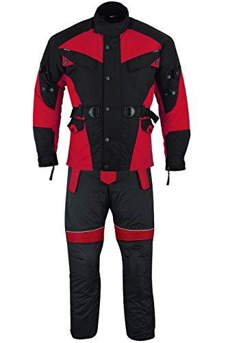 German Wear 2-teiler Motorradkombi Cordura Textilien Motorradjacke + Motorradhose, 48/S, Rot