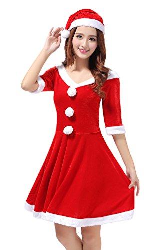 YOUJIA Natale Donne Costume da Babbo Natale Prestazione Abbigliamento Cosplay del Vestito di Ballo Feste,Cappello